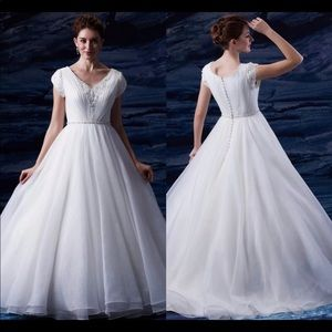 Dresses & Skirts - Custom made Modest Wedding Dress beaded ball gown